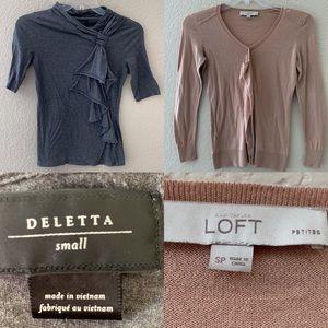 Anthropologie Deletta & Loft Bundle Lot 2 Blouses